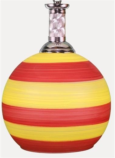 Şenay Aydınlatma Tekli Opal Cam Avize Sarkıt-Sarı Kırmızı Çizgili Renkli